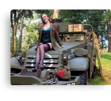 A redhead pinup on a WWII White Halftrack Canvas Print