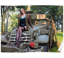 A redhead pinup on a WWII White Halftrack Poster