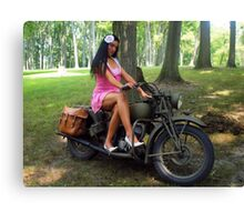 Ashley on a WWII Indian motorcycle Canvas Print