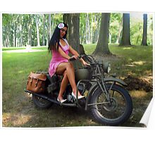 Ashley on a WWII Indian motorcycle Poster