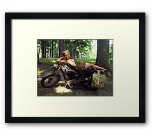 Dawn on a Matchless motorcycle Framed Print