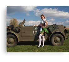 Carolyn with a captured Kubelwagen Canvas Print