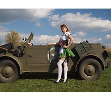 Carolyn with a captured Kubelwagen Photographic Print