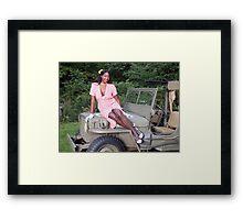 Violet on a Jeep Framed Print