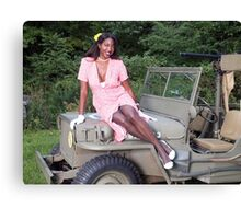 Violet on a Jeep Canvas Print