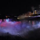 Niagara Falls at night by Jill Vadala