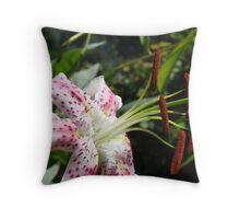 Lily Flower Close Up Floral art Print Pink Lilies Garden Throw Pillow