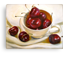 Still Life in Red and White...Cherries.. Canvas Print