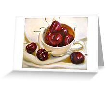 Still Life in Red and White...Cherries.. Greeting Card