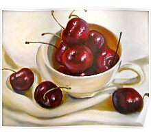 Still Life in Red and White...Cherries.. Poster