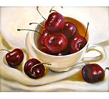 Still Life in Red and White...Cherries.. Photographic Print