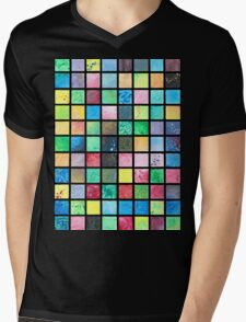 Black Grid Canvas Mens V-Neck T-Shirt