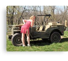 Cassie and 1944 Willys MB Canvas Print