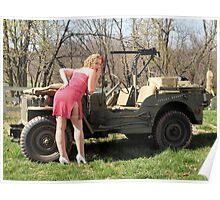 Cassie and 1944 Willys MB Poster