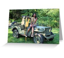 Violet on a Jeep, Tuskegee Airman Greeting Card
