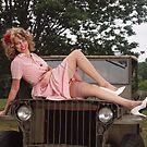 Amanda on a 1941 Willys MB Slat Grille by LibertyCalendar