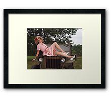 Amanda on a 1941 Willys MB Slat Grille Framed Print