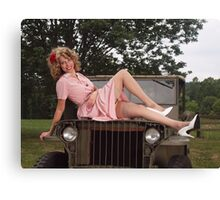 Amanda on a 1941 Willys MB Slat Grille Canvas Print