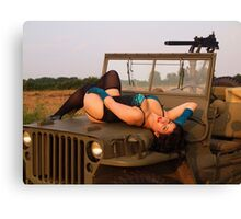 Brunette on a 1944 Willys MB Jeep Canvas Print