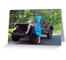 Dori Jean with a 1941 Willys MB Greeting Card