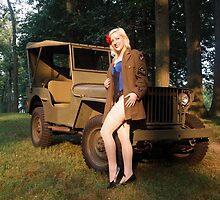 Andie with a 1941 Willys MB by LibertyCalendar