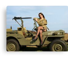 Ashley on a '44 Willys MB Canvas Print