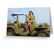 Ashley on a '44 Willys MB Greeting Card