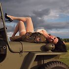 Ivette on a 1944 Willys MB by LibertyCalendar