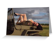 Ivette on a 1944 Willys MB Greeting Card