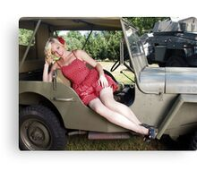 Brittany in a 1941 Willys MB Canvas Print