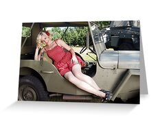Brittany in a 1941 Willys MB Greeting Card