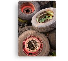 Old Tyres & Wheels Canvas Print