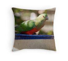 Happy King Parrot Throw Pillow