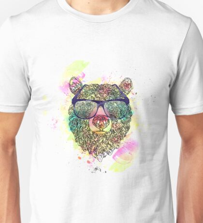 Cool watercolor bear with glasses design Unisex T-Shirt