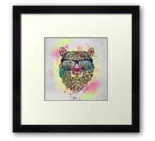 Cool watercolor bear with glasses design Framed Print