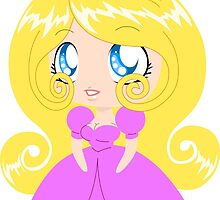Blond Cupcake Princess In Pink Dress by Liron Peer