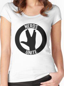 NERDS UNITE - VULCAN SALUTE Women's Fitted Scoop T-Shirt