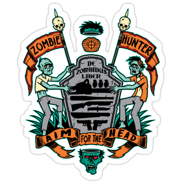 Zombie Hunters Coat of Arms (STICKER) by Bamboota