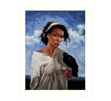 A Woman with Crow Art Print
