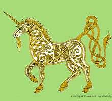 Celtic Unicorn #4 Golden by ingridthecrafty