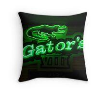 Gators logos and neon sign Throw Pillow