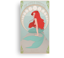 Ariel in Mucha Style Canvas Print