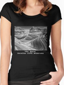 The Wave B&W Women's Fitted Scoop T-Shirt