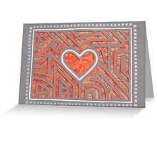 Orange and Gray Heart Paper Cutout Design Greeting Card