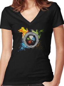 Elemental  Battle Women's Fitted V-Neck T-Shirt