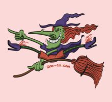 Crazy Witch Riding her Broomstick Kids Tee