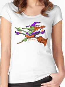 Crazy Witch Riding her Broomstick Women's Fitted Scoop T-Shirt