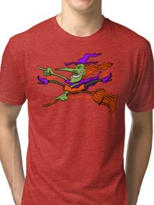 Crazy Witch Riding her Broomstick Tri-blend T-Shirt