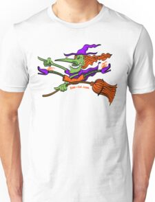 Crazy Witch Riding her Broomstick Unisex T-Shirt