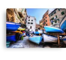 Boats of Riomaggiore Canvas Print